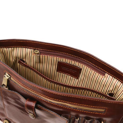 TL Messenger One compartment leather shoulder bag - Medium size Brown TL141301