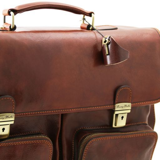 Ventimiglia Leather multi compartment TL SMART briefcase with front pockets Brown TL141449
