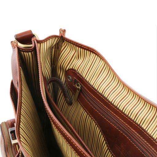 Ventimiglia Portafolios multiples compartimientos en piel TL SMART con bolsillos delanteros Marrón TL141449