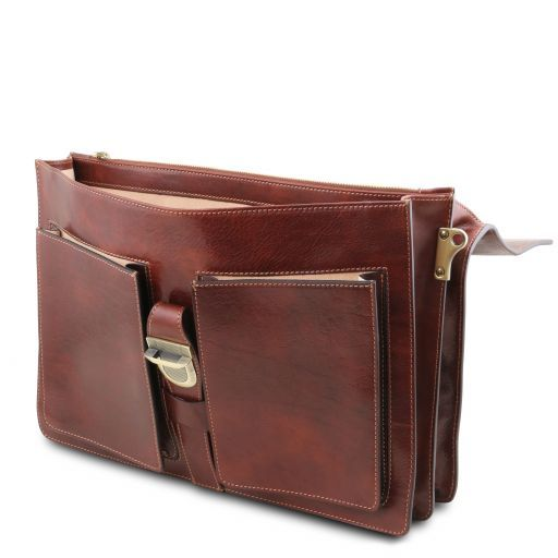 Assisi Leather briefcase 3 compartments Brown TL141825