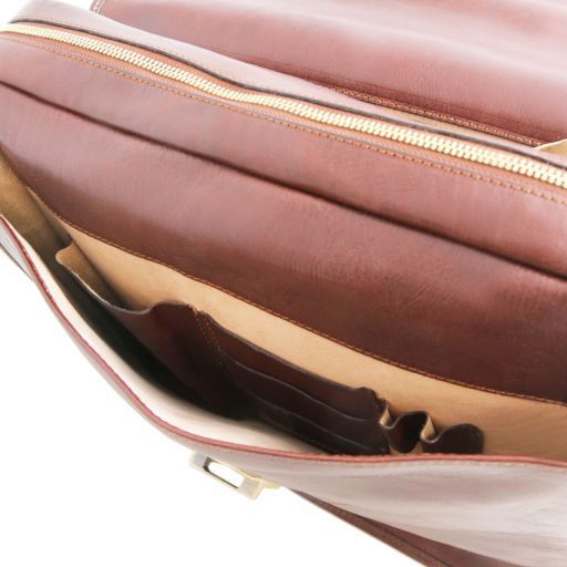 Vernazza Leather briefcase with Laptop compartment 3 compartments Brown TL141354
