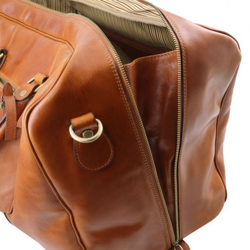TL Voyager Leather travel bag with front pocket Brown TL141401