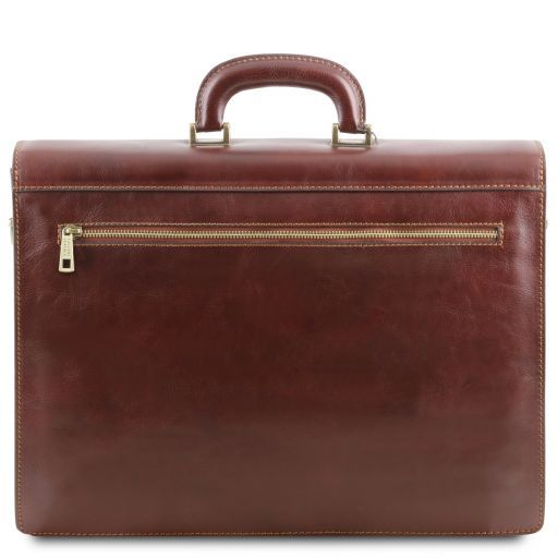 Roma Leather briefcase 3 compartments Honey TL141349