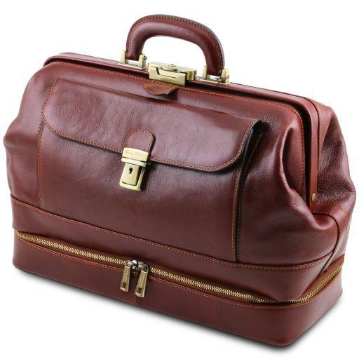 Giotto Elegante bolso de doctor en piel con doble fondo Miel TL141297