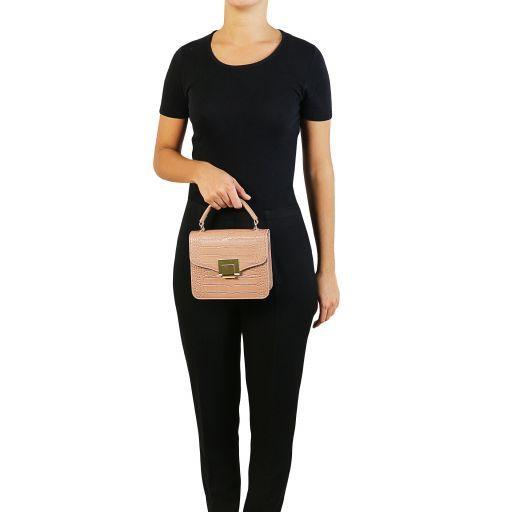 TL Bag Mini-Tasche mit Kroko-Prägung Dunkelblau TL141890