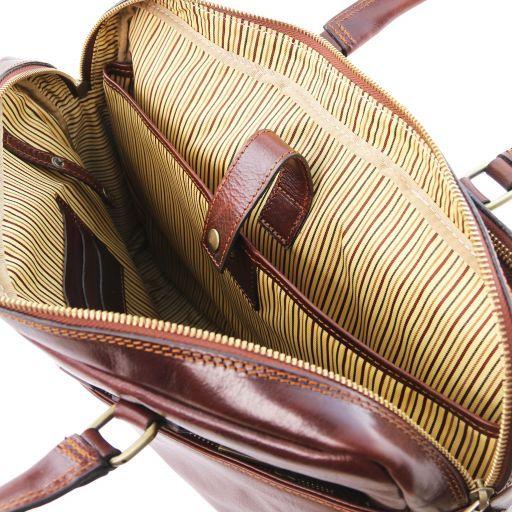 Urbino Cartella in pelle porta computer a 2 scomparti con tasca frontale Marrone TL141894