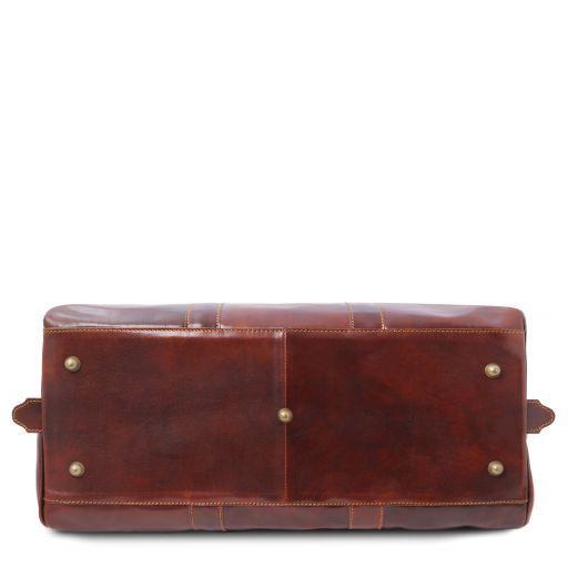 Francoforte Дорожная кожаная сумка weekender - Маленький размер Темно-коричневый TL140935