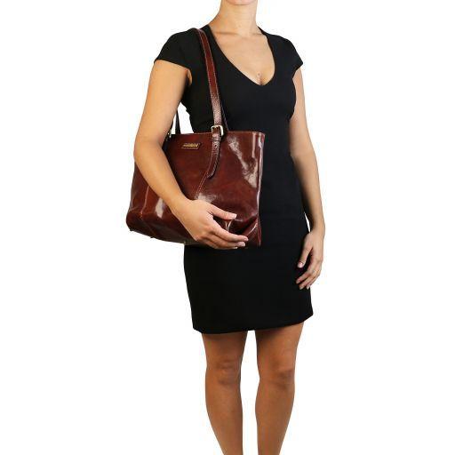 Annalisa Borsa shopping in pelle con due manici Nero TL141710