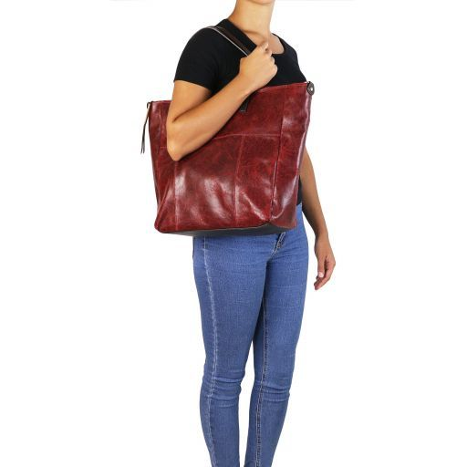 Annie Aged effect leather TL SMART shopping bag Dark Brown TL141552