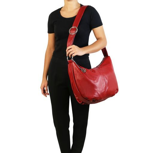 Yvette Soft leather hobo bag Red TL140900