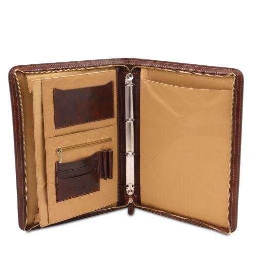 Lucio Эксклюзивная кожаная папка для документов с кольцами Темно-коричневый TL141293