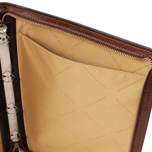 Costanzo Exklusive Konferenzmappe aus Leder mit Griff und Ringmechanik Honig TL141295