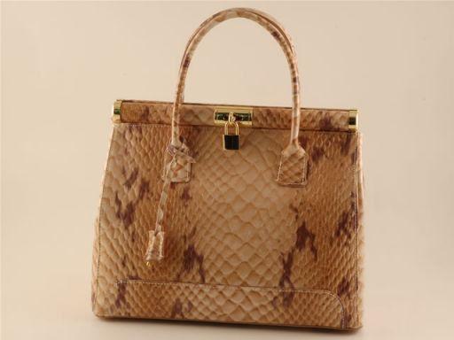 Silvia Python look leather bag Коньяк TL140634
