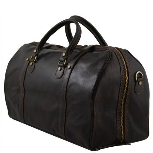 Berlin Travel leather duffle bag with front straps - Large size Black TL1013
