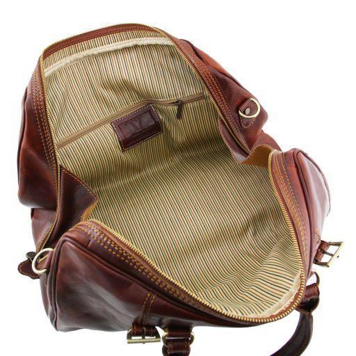 Berlin Дорожная кожаная сумка-даффл с пряжками - Маленький размер Темно-коричневый TL1014