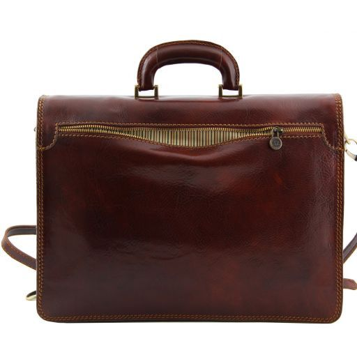Parma Leather briefcase 2 compartments Brown TL10018