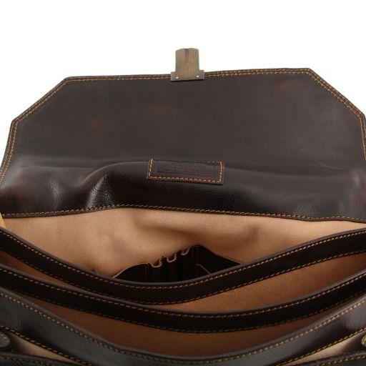 Roma Aktentasche aus Leder 3 Fächer Braun TL10026