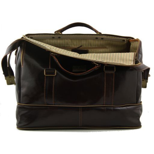 Bruxelles Expandable travel leather bag Dark Brown TL1083