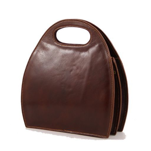 Carmen Leather handbag with oval cut-out handle Honey TL6088