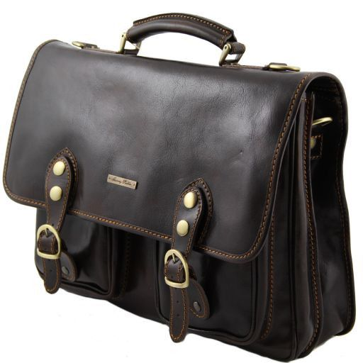Modena Leather briefcase 2 compartments - Large size Dark Brown TL100310