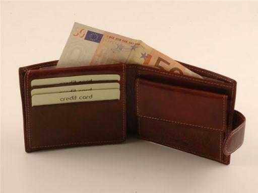 Esclusivo portafogli da uomo in pelle Rosso TL140617