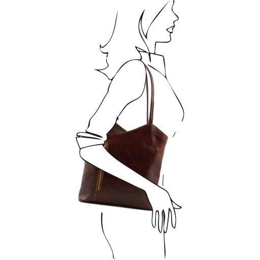 Patty Borsa donna in pelle convertibile a zaino Marrone TL140691