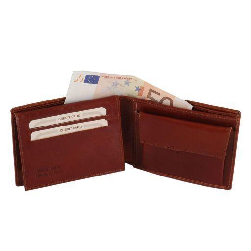 Esclusivo portafoglio uomo in pelle 3 ante con portaspiccioli Miele TL140763
