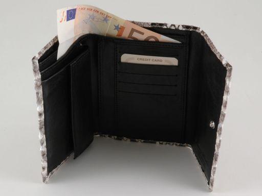 Esclusivo portafoglio donna in vero pitone Marrone TL140776