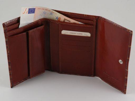 Esclusivo portafogli in pelle stampa cocco da donna Marrone TL140783