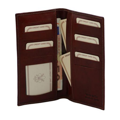 Эксклюзивный вертикальный кожаный бумажник двойного сложения Черный TL140784