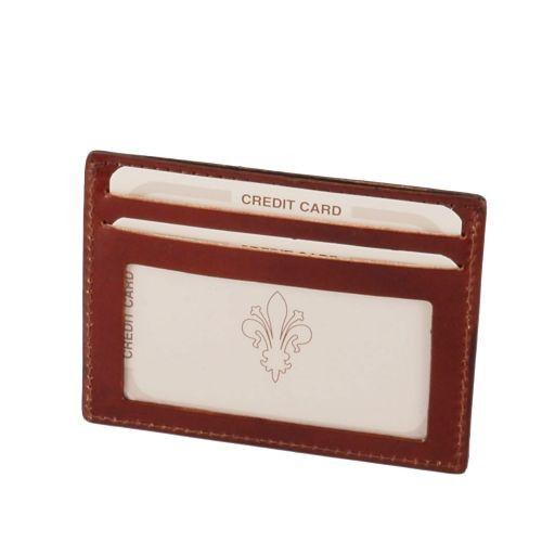 Esclusivo portacarte di credito in pelle con finestra Marrone TL140805