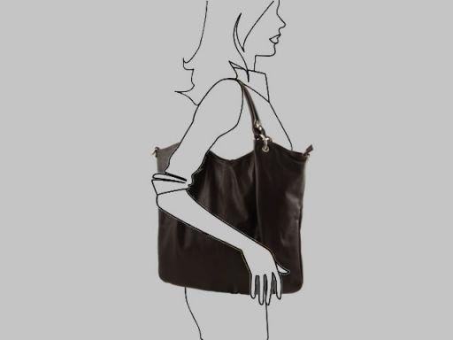 Nina Borsa Shopper in pelle nappata Talpa scuro TL140893