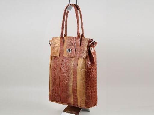 Eva Borsa a spalla in pelle stampa cocco - Misura grande Cognac TL140922