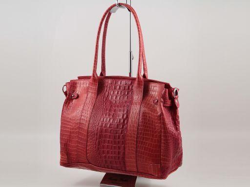 Eva Croco look leather shoulder bag - Medium size Orange TL140923