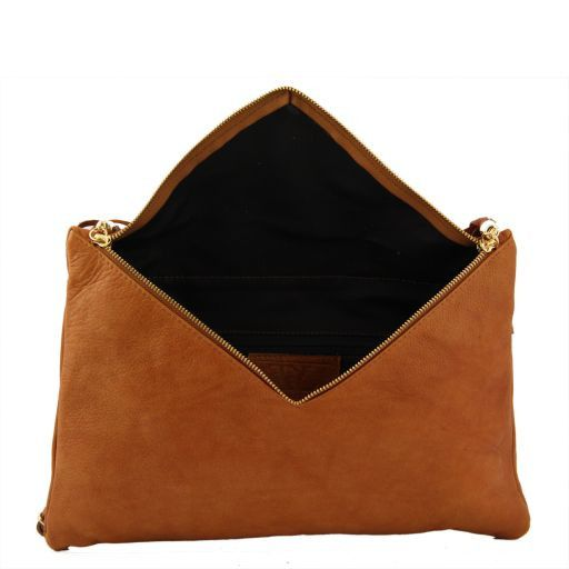 Audrey Clutch leather handbag - Large size Brown TL141033