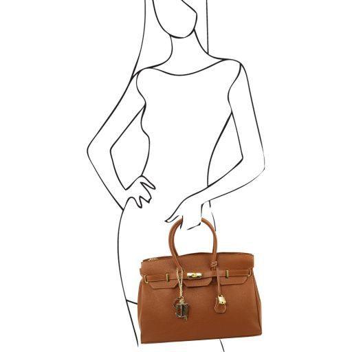 TL KeyLuck Кожаная сумка с золотистой фурнитурой Темно-синий TL141092