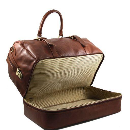 TL Travel Borsa da viaggio in pelle con doppio fondo Marrone TL151104