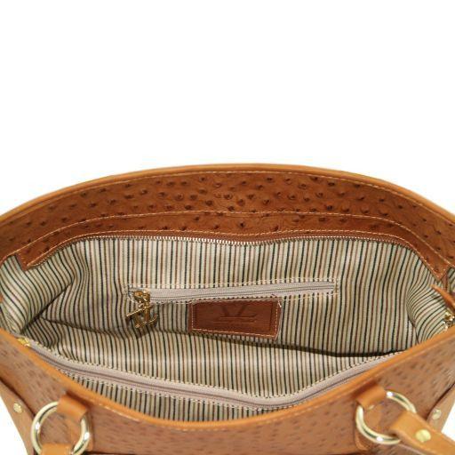 TL Bag Shopping bag in pelle con stampa struzzo Nero TL141106