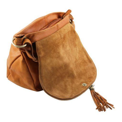 TL Bag Soft leather shoulder bag with tassel detail Red TL141110