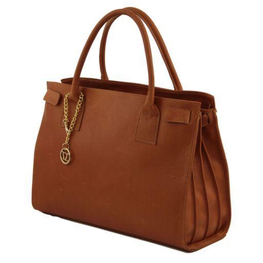 TL Bag Sac à main en cuir avec pendentif couleur or Bleu TL141191
