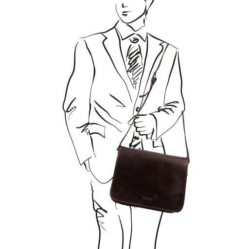 Messenger New style - Borsa in pelle - Misura grande Testa di Moro TL141198