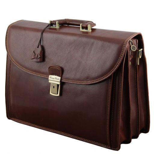 Taormina Cartella in pelle portanotebook 3 scomparti Testa di Moro TL141205