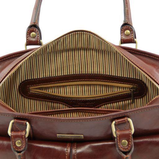 Volterra Cartella in pelle da donna con tasche davanti Marrone TL141221