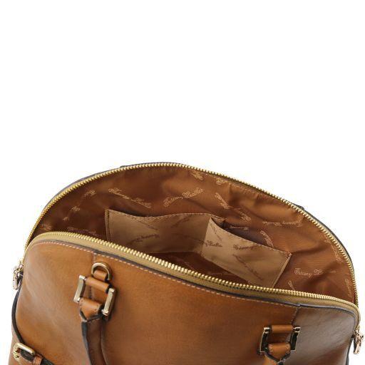TL Bag Sac à main en cuir avec boucles Taupe foncé TL141235