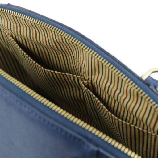 TL Bag Borsa a mano in pelle Saffiano con fibbie Blu scuro TL141236