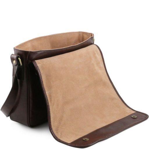 82b095252e ... TL Messenger One compartment leather shoulder bag - Large size Dark  Brown TL141253 ...