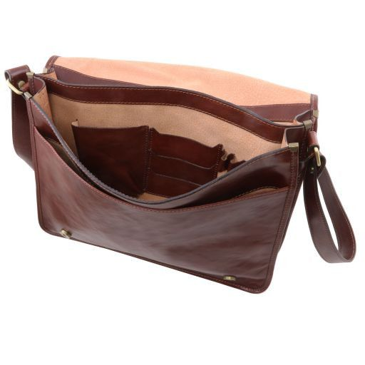 ... TL Messenger Two compartments leather shoulder bag - Large size Brown  TL141254 ... f864bd7fcc31f