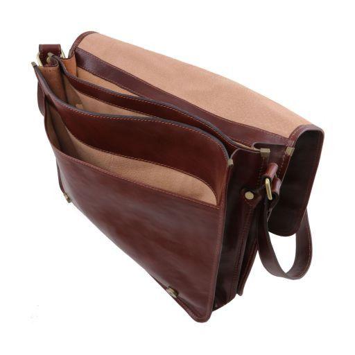 TL Messenger Two compartments leather shoulder bag - Large size Brown TL141254