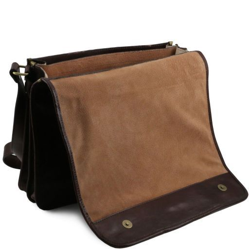 TL Messenger Two compartments leather shoulder bag - Large size Dark Brown TL141254