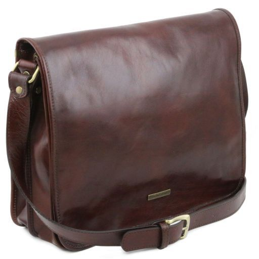 TL Messenger Sac bandoulière en cuir 2 compartiments - Grand modèle Marron TL141254